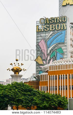 Partial view of Lisboa casino building in Macau with place for text