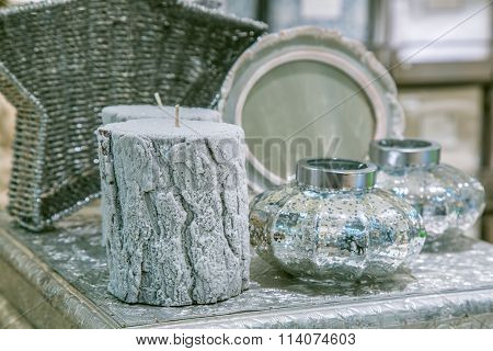 Close-up of decorative candles