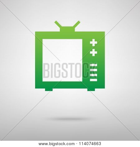 TV sign. Green icon