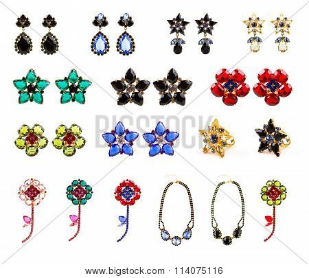 Collection Of Crystal Jewelry, Earrings, Rings, Necklaces And Brooches