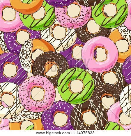 Sweet donut seemles illustration on light background