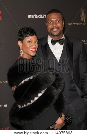 BEVERLY HILLS - JAN. 10: Cynne Simpson and Chris Tucker arrive at the Weinstein Company & Netflix Golden Globes After Party on Sunday, January 10, 2016 at the Beverly Hilton Hotel, Beverly Hills, CA.