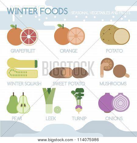 Winter foods seasonal vegetables and fruits