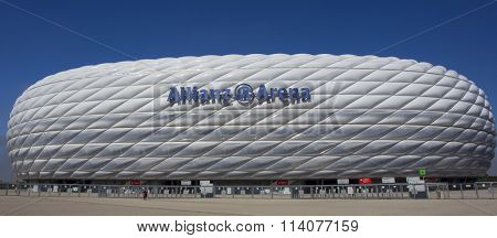 MUNICH, GERMANY - SEPTEMBER 17 2014:   The Allianz Arena in Munich, Germany.