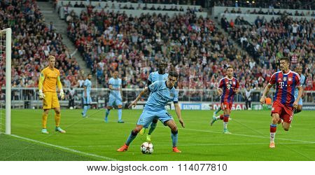 MUNICH, GERMANY - SEPTEMBER 17 2014:   The UEFA Champions League match between Bayern Munich and Manchester City, at the Allianz Arena, Munich, Germany.