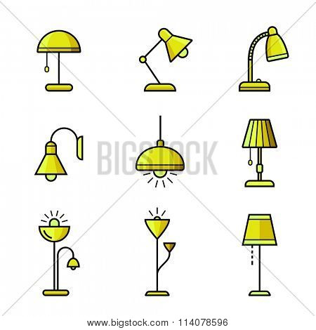 Lamps, chandeliers and other lighting devices. Light fixtures icon set. Vector illustration