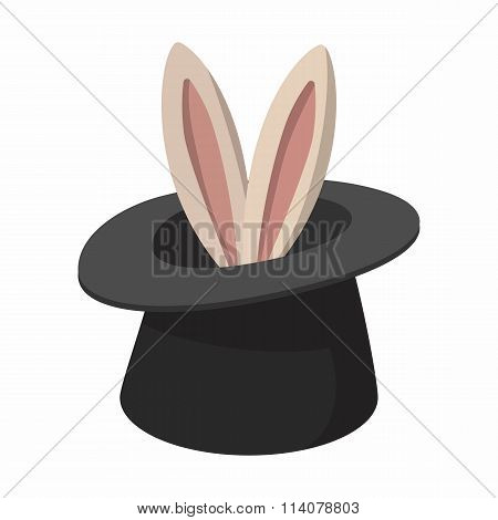 Rabbit appearing from a top magic hat cartoon