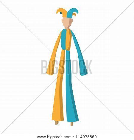 Clown on stilts cartoon