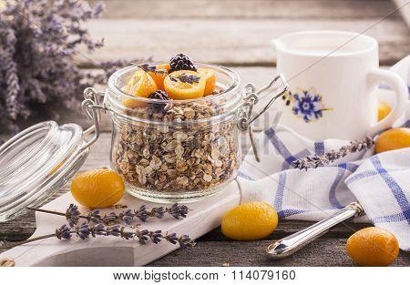 Healthy Breakfast, Homemade Oatmeal with kumquats, Granola