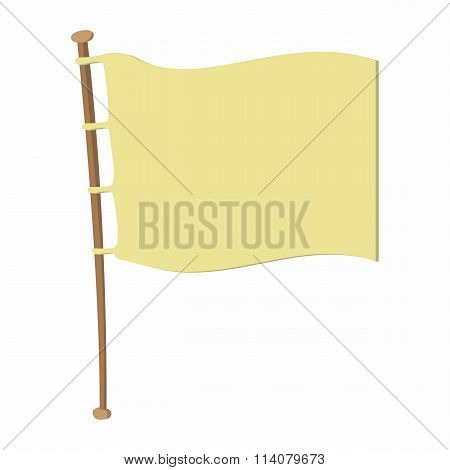 White flag on wooden flagpole