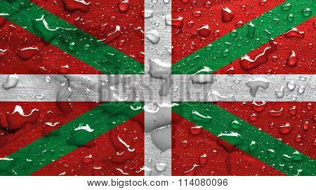 flag of Basque Country with rain drops