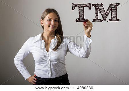 Tm Trade Mark - Beautiful Girl Writing On Transparent Surface
