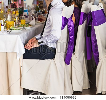 Guests eating on wedding reception