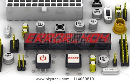 ERROR 404. The message on the display electronic circuit board