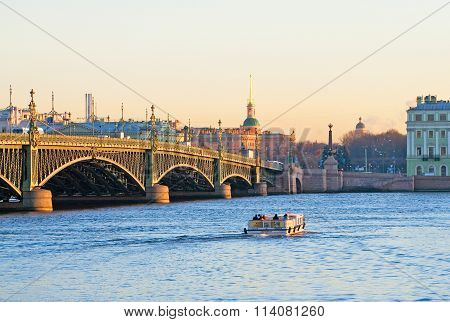 Saint - Petersburg. Russia. People on the tourist boat