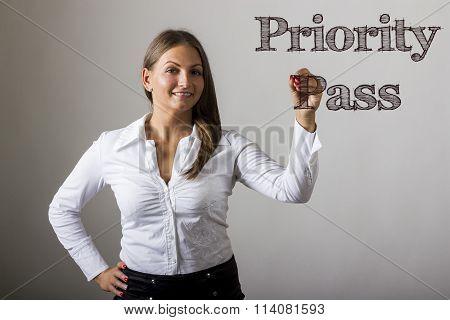 Priority Pass - Beautiful Girl Writing On Transparent Surface