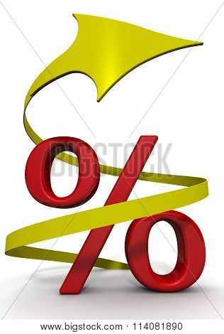 Red percentage sign