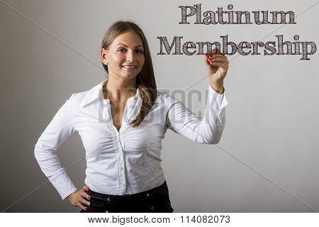 Platinum Membership - Beautiful Girl Writing On Transparent Surface