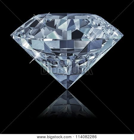 Blue Diamond Isolated On Black Background 3D
