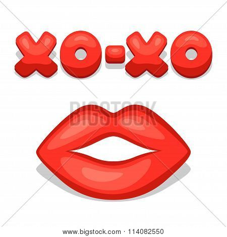 Greeting card with xo-xo and lips. Concept can be used for Valentines Day, wedding or love confessio