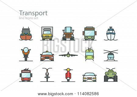 Transport. Line icons set. Color. Stock vector.