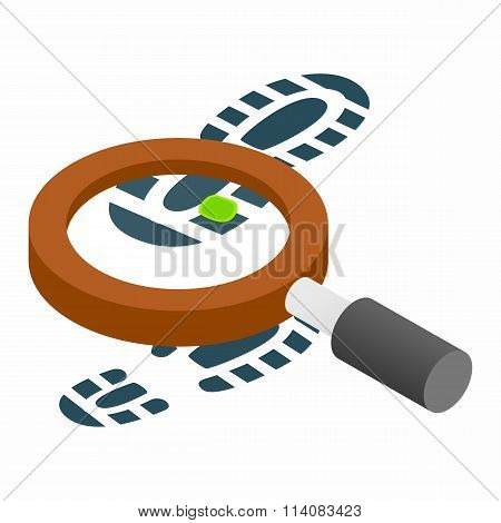 Magnifying glass and shoe isometric 3d icon