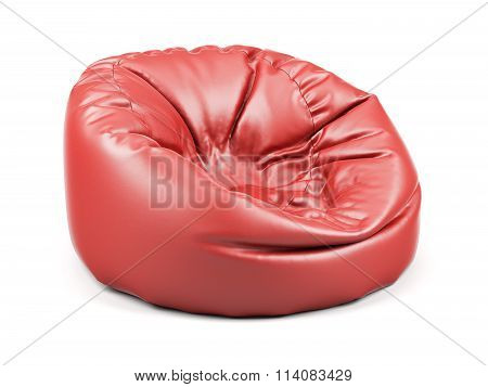 Red Soft Leather Beanbag Isolated