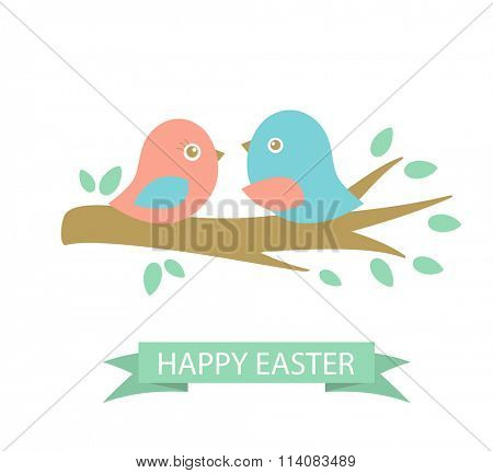 Cute easter card with two birds on the cherry tree branch