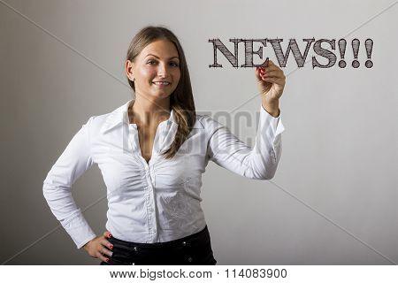 News!!! - Beautiful Girl Writing On Transparent Surface