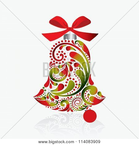 Vector. Print.Print. Christmas bell of the leaf pattern.