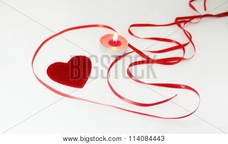 Heart candle and ribbon decoration Valentine's Day