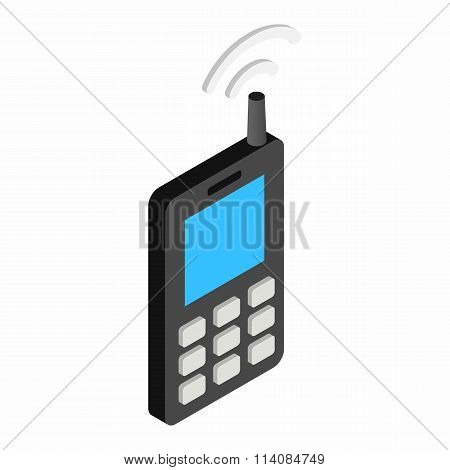 Old mobile telephone isometric 3d icon