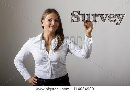 Survey - Beautiful Girl Writing On Transparent Surface