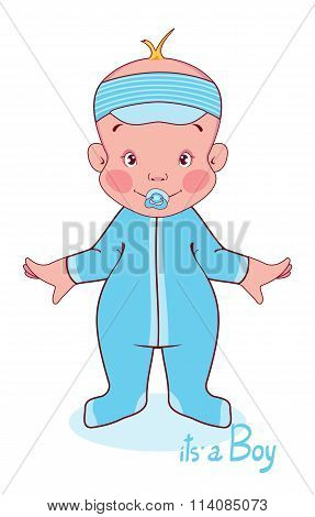 Vector illustration of a young child in blue overalls, this boy.