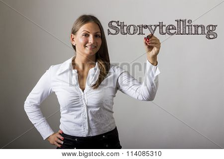 Storytelling - Beautiful Girl Writing On Transparent Surface