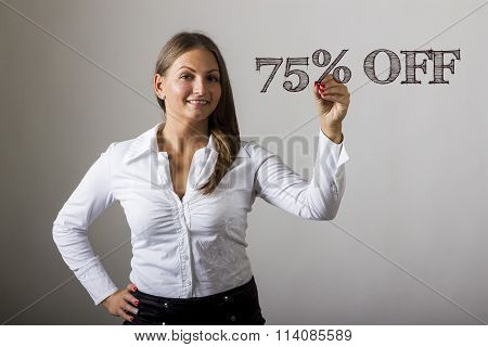 75 Percent Off - Beautiful Girl Writing On Transparent Surface