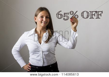 65 Percent Off - Beautiful Girl Writing On Transparent Surface