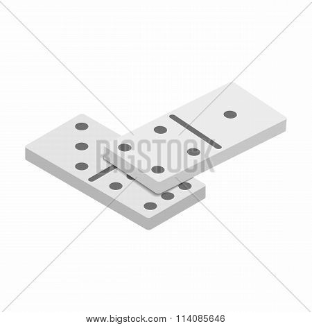 White domino dice with black dots sometric 3d icon