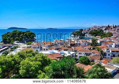 Beautiful panoramic view of Skiathos town
