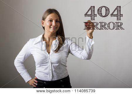 404 Error! - Beautiful Girl Writing On Transparent Surface