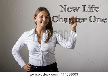 New Life Chapter One - Beautiful Girl Writing On Transparent Surface