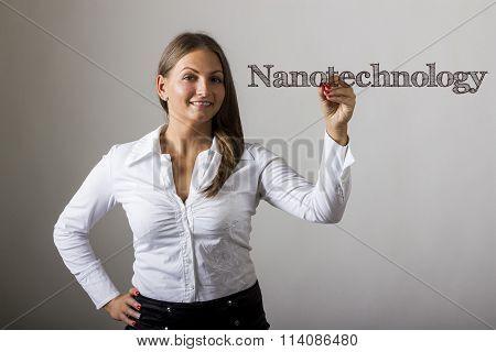 Nanotechnology - Beautiful Girl Writing On Transparent Surface