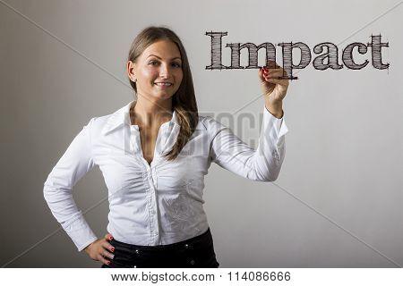 Impact - Beautiful Girl Writing On Transparent Surface