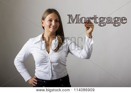 Mortgage - Beautiful Girl Writing On Transparent Surface
