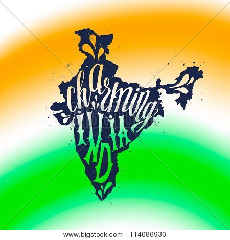 Charming India Typographic poster