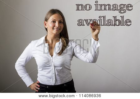 No Image Available - Beautiful Girl Writing On Transparent Surface