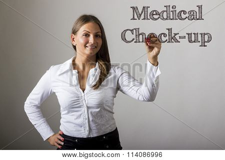 Medical Check-up - Beautiful Girl Writing On Transparent Surface