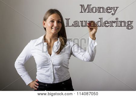 Money Laundering - Beautiful Girl Writing On Transparent Surface