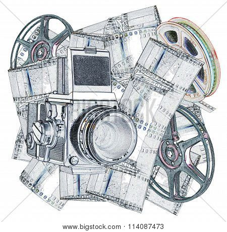 Illustration of old Camera and Filmstrips