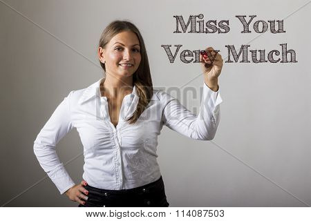 Miss You Very Much - Beautiful Girl Writing On Transparent Surface